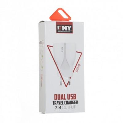 Зарядний пристрій EMY MY-271 2 USB White 2.1A + microUSB