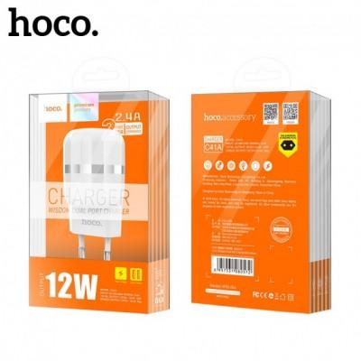 Зарядний пристрій HOCO C41A  Wisdom 2 USB 2.4A + micro USB