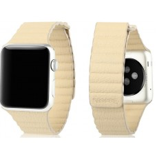 Шкіряний ремінець Apple Watch 42mm Baseus Back Series WatchBand Cream