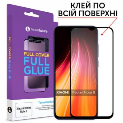 Захисне скло Xiaomi Redmi Note8 MakeFuture Full Cover Full Glue