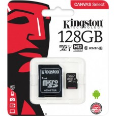 Карта пам'яті MicroSD 128 Gb + SD (class10) UHS-l Canvas Kingston