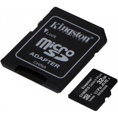Карта пам'яті MicroSD 32 Gb + SD (class10) UHS-I Canvas Select Plus А1 (R-100MB/s) Kingston