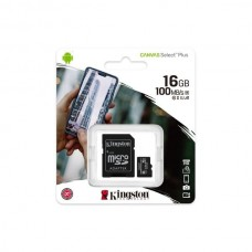 Карта пам'яті MicroSD 16 Gb + SD (class10) UHS-I Canvas Select Plus А1 (R-100MB/s) Kingston