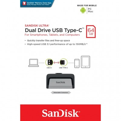 USB Flash 64Gb Sandisk Ultra Dual USB 3.0 Type-C