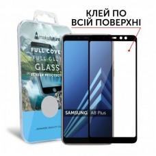 Захисне скло Samsung Galaxy A8 Plus (2018) MakeFuture Full Glue Black