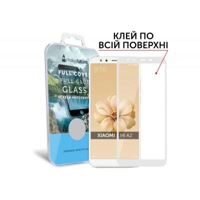 Захисне скло Xiaomi Mi A2 MakeFuture Full Glue White