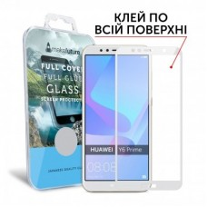 Захисне скло Huawei Y6 Prime (2018) Makefuture Full Glue White
