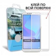 Захисне скло Huawei Y6 Prime (2018) Makefuture Full Glue White