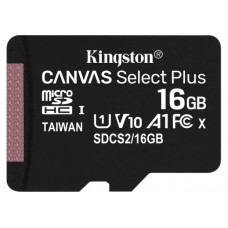 Карта памяти MicroSD 16 Gb (class10) UHS-l Canvas Select Plus А1 (R-100MB/s) Kingston