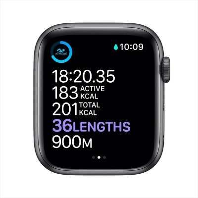 Apple Watch 6 44mm GPS Space Gray Aluminium Case with Black Sport Band (M00H3)