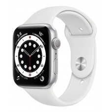 Apple Watch 6 44mm GPS Silver Aluminum Case with White Sport Band (M00D3)