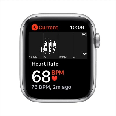 Apple Watch SE 44mm GPS Silver Aluminium Case with White Sport Band (MYDQ2)