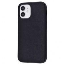 Накладка iPhone 12/12Pro Grainy Leather Black